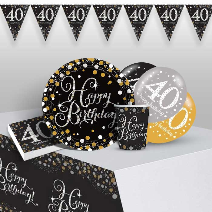 Gold Sparkling 40th Birthday 8 to 48 Guest Premium Party Pack - Tableware | Balloons | Decoration