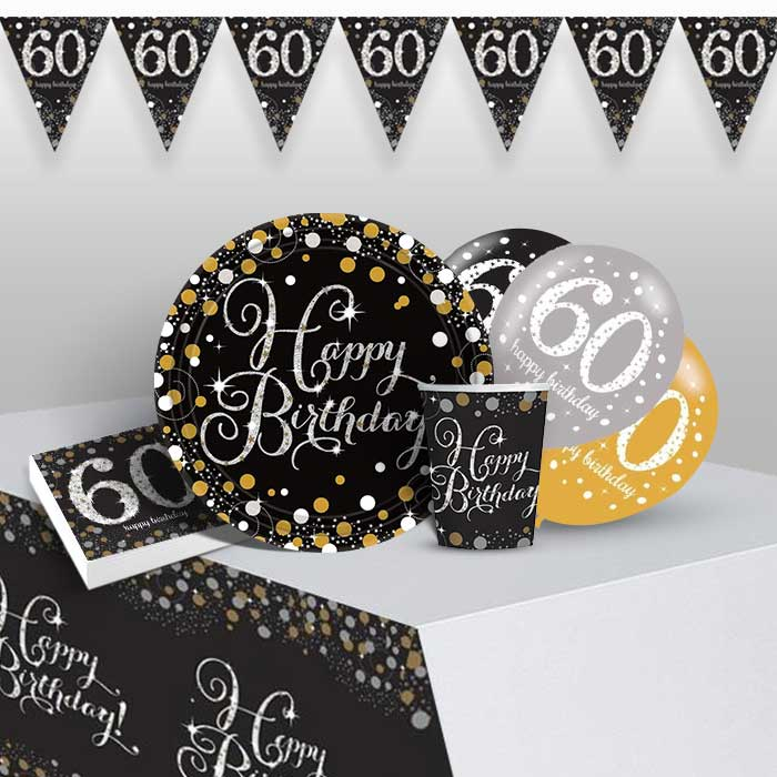 Gold Sparkling 60th Birthday 8 to 48 Guest Premium Party Pack - Tableware | Balloons | Decoration