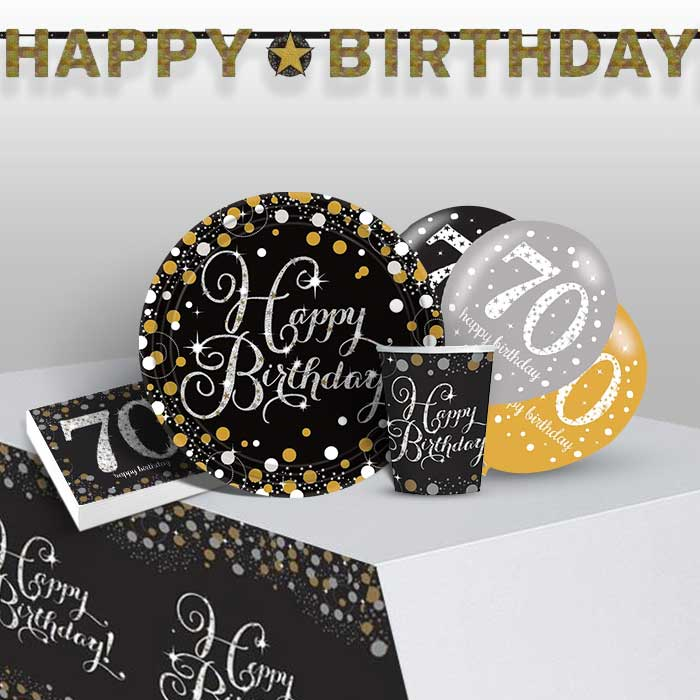 Gold Sparkling 70th Birthday 8 to 48 Guest Premium Party Pack - Tableware | Balloons | Decoration