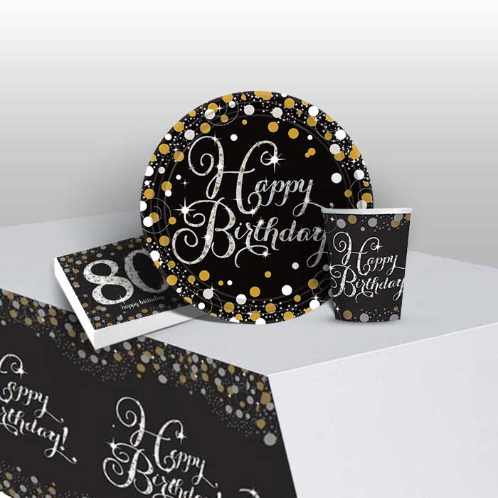 Gold Sparkling 80th Birthday 8 to 48 Guest Starter Party Pack - Tablecover | Cups | Plates | Napkins