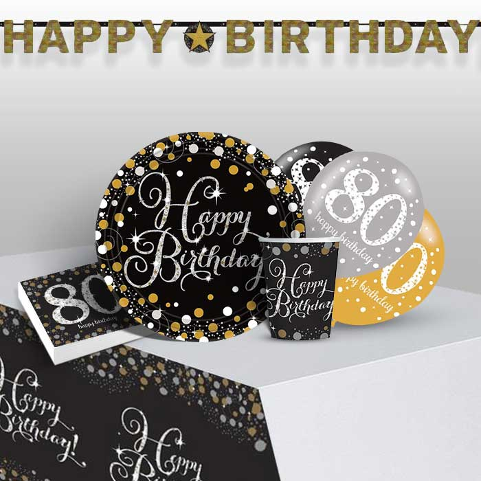 Gold Sparkling 80th Birthday 8 to 48 Guest Premium Party Pack - Tableware | Balloons | Decoration