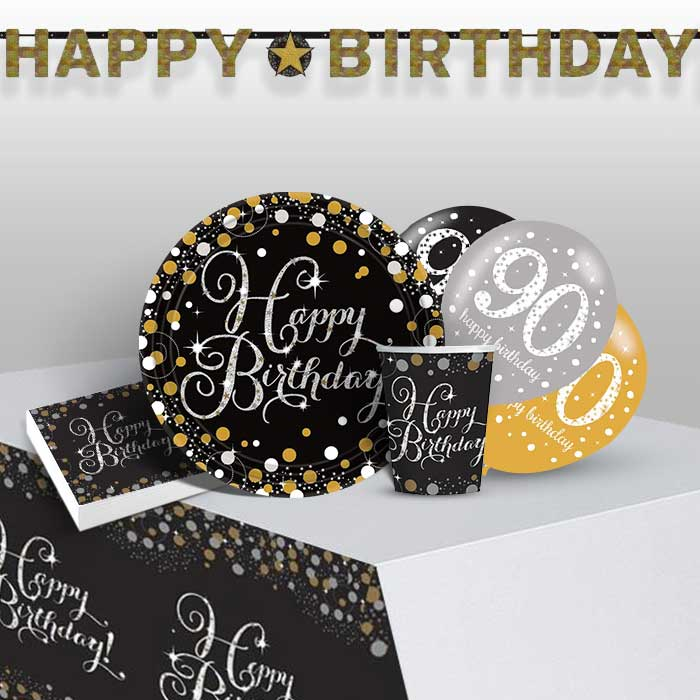 Gold Sparkling 90th Birthday 8 To 48 Guest Premium Party Pack