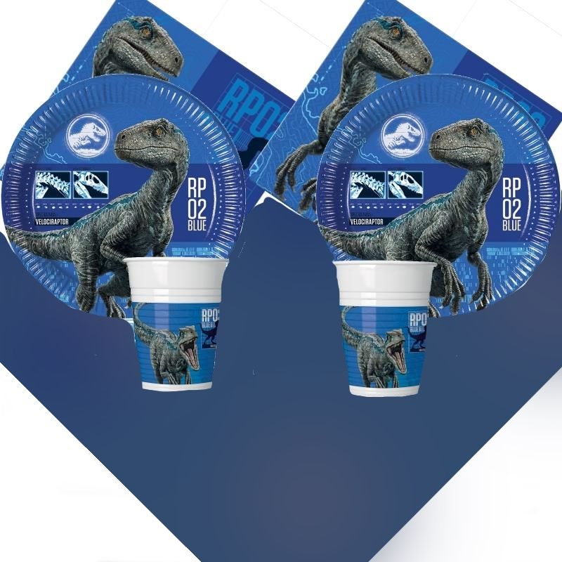 Jurassic World Fallen Kingdom 8 to 48 Guest Starter Party Pack - Tablecover | Cups | Plates | Napkins