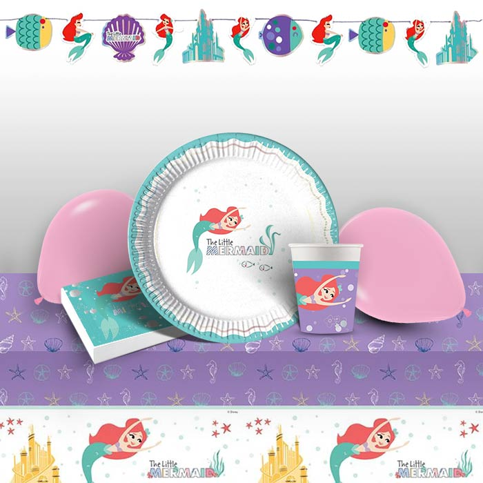 Ariel the Little Mermaid 8 to 48 Guest Premium Party Pack - Tableware | Balloons | Decoration
