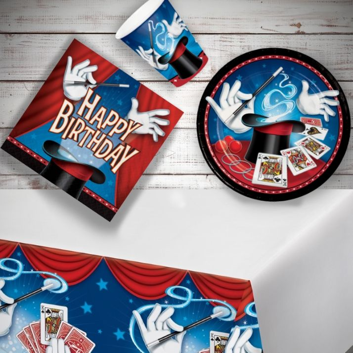 Magic Party 8 to 48 Guest Starter Party Pack - Tablecover | Cups | Plates | Napkins