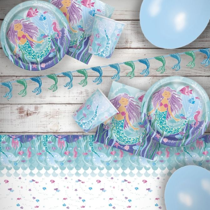Mermaid 8 to 48 Guest Premium Party Pack - Tableware | Balloons | Decoration