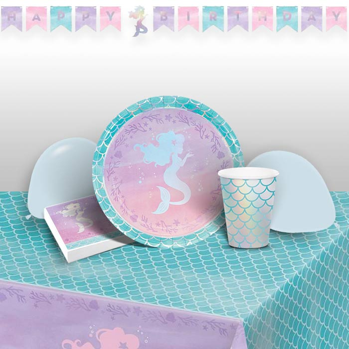 Mermaid Shine 8 to 48 Guest Premium Party Pack - Tableware | Balloons | Decoration