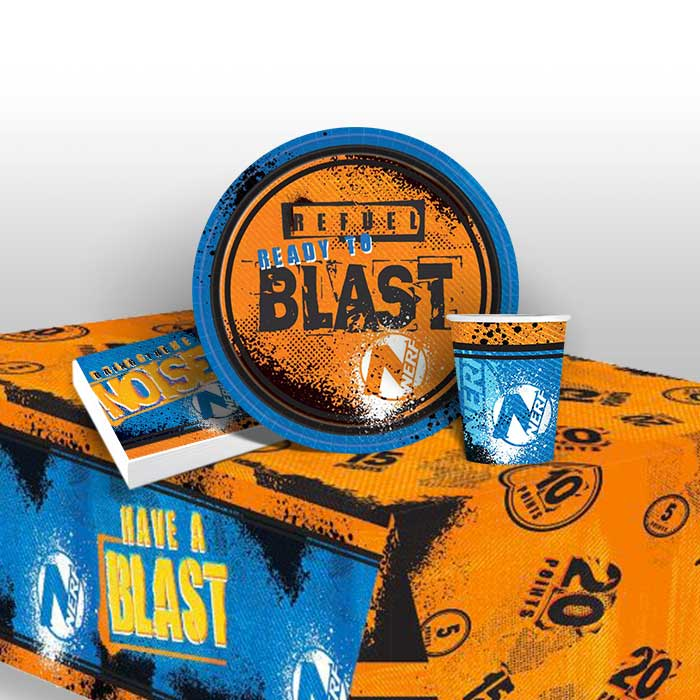 Nerf 8 to 48 Guest Starter Party Pack - Tablecover, Cups, Plates Napkins