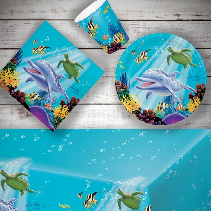 Ocean Sealife 8 To 48 Guest Starter Party Pack Tablecover Cups Animal Plates Napkins