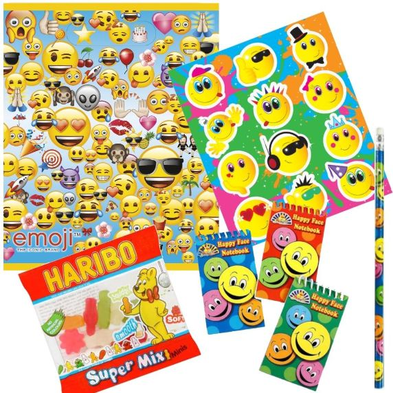 Emoji Ready Filled Party Bag with Sweets, Stickers + 2 Favours