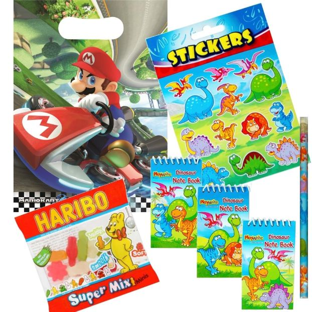 Super Mario Kart Ready Filled Party Bag with Sweets, Stickers + 2 Favours