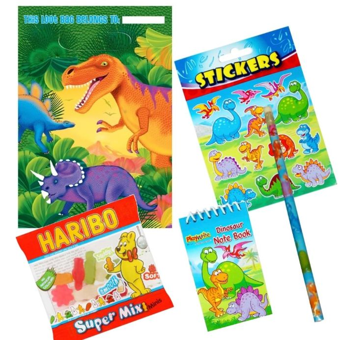 Prehistoric Dinosaur Ready Filled Party Bag with Sweets, Stickers + 2 Favours