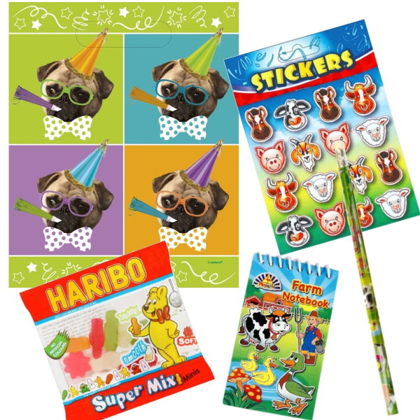 Pug | Dog Ready Filled Party Bag with Sweets, Stickers + 2 Favours