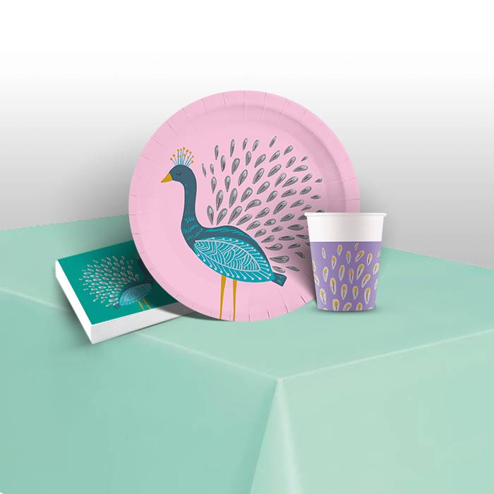 Peacock 8 to 48 Guest Starter Party Pack - Tablecover | Cups | Plates | Napkins