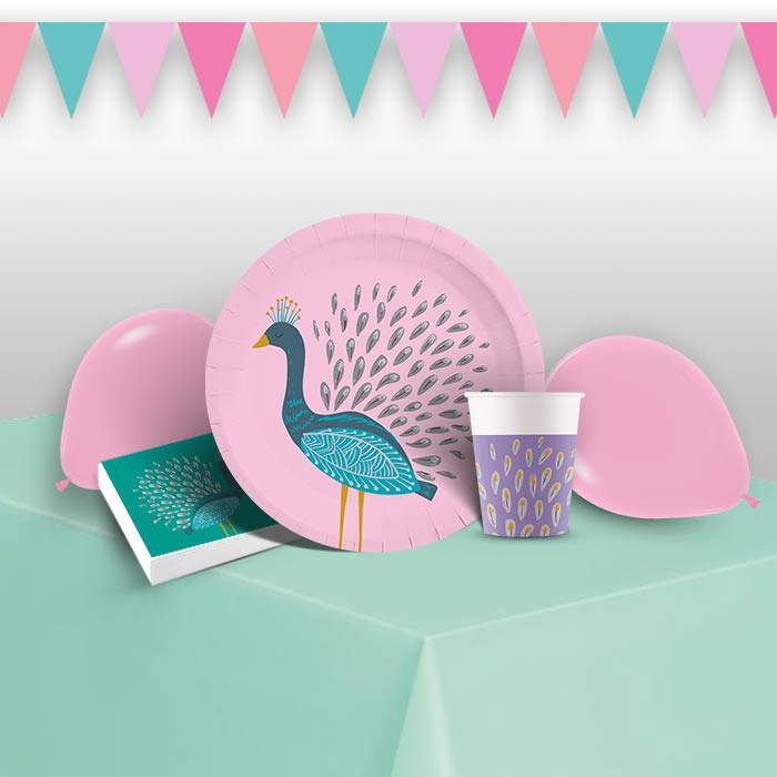 Peacock 8 to 48 Guest Premium Party Pack - Tableware | Balloons | Decoration