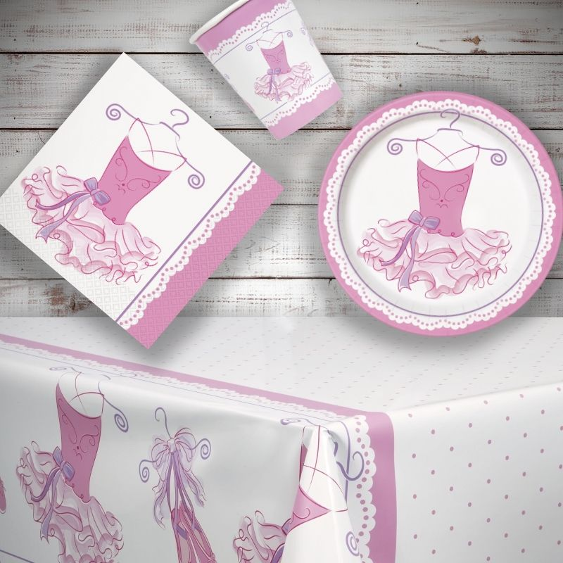 Pink Ballerina 8 to 48 Guest Starter Party Pack - Tablecover | Cups | Plates | Napkins