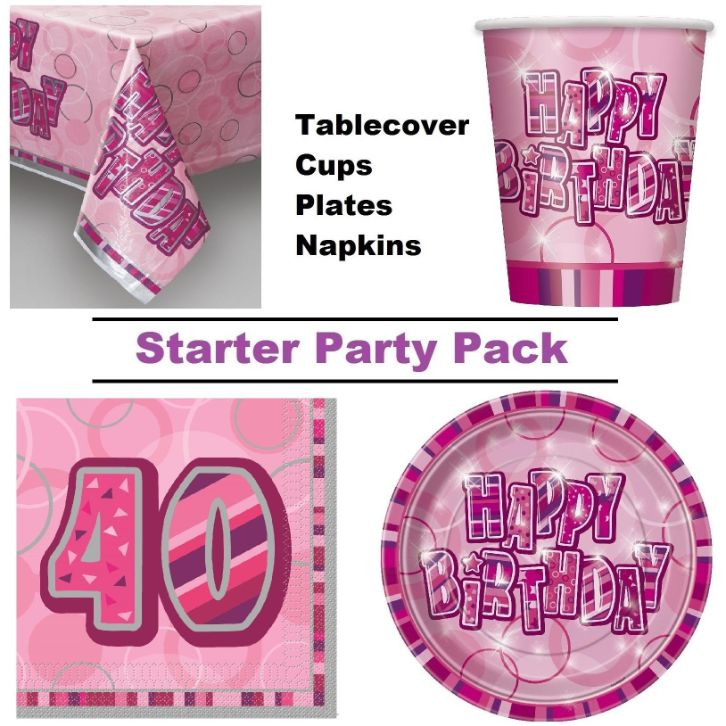 Pink Glitz 40th Birthday 8 To 48 Guest Starter Party Pack