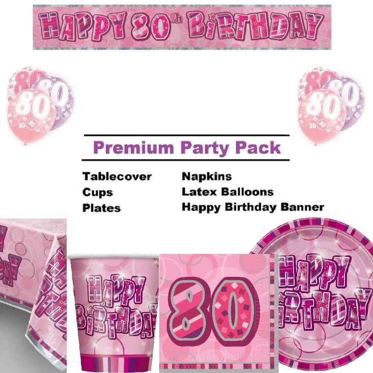 Pink Glitz 80th Birthday 8 To 48 Guest Premium Party Pack