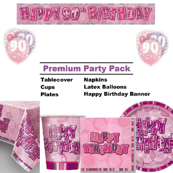 Pink Glitz 90th Birthday 8 To 48 Guest Premium Party Pack