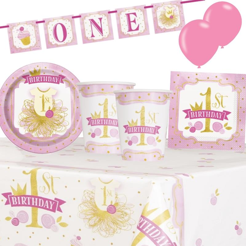 Pink and Gold Girls 1st Birthday 8 to 48 Guest Premium Party Pack - Tableware | Balloons | Decoration