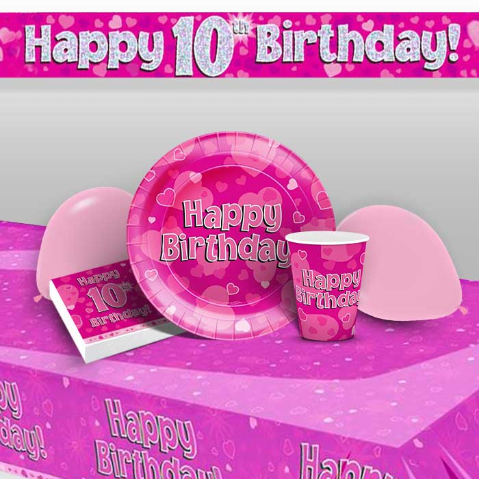 Pink Heart Happy 10th Birthday 8 To 48 Guest Premium Party Pack