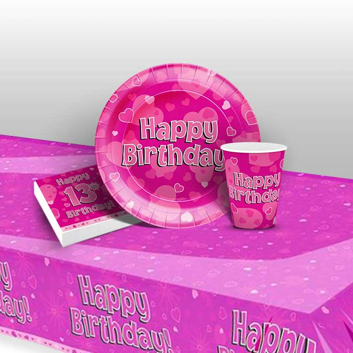 Pink Heart Happy 13th Birthday 8 to 48 Guest Starter Party Pack - Tablecover | Cups | Plates | Napkins