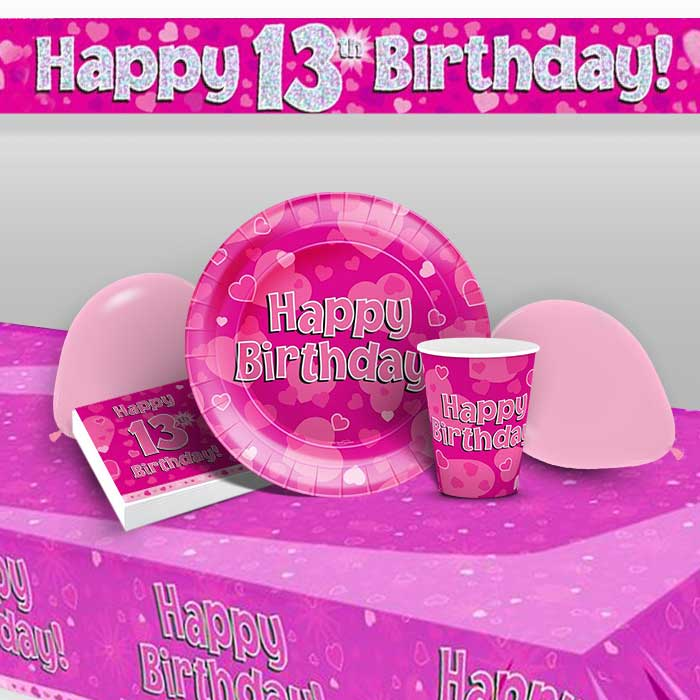 Pink Heart Happy 13th Birthday 8 to 48 Guest Premium Party Pack - Tableware | Balloons | Decoration