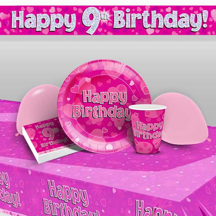 Pink Heart Happy 9th Birthday 8 To 48 Guest Premium Party Pack