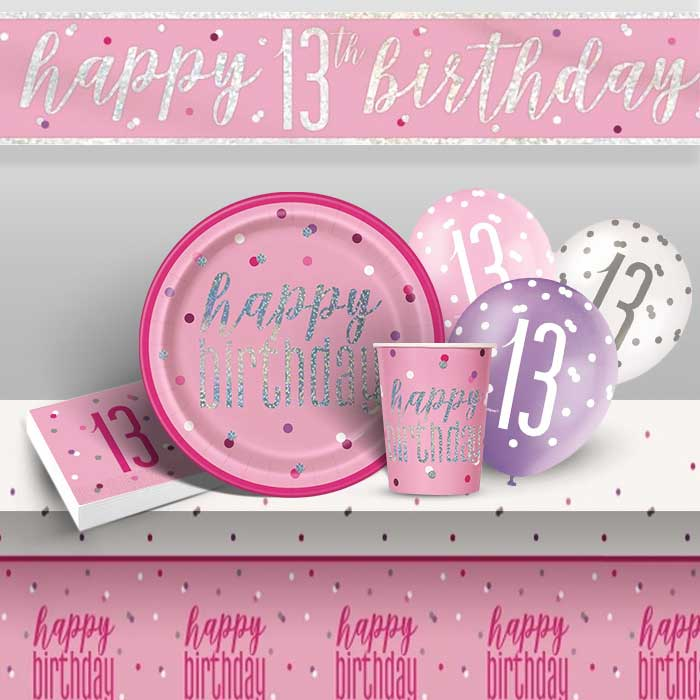 Pink and Silver Holographic 13th Birthday 8 to 48 Guest Premium Party Pack - Tableware | Balloons | Decoration