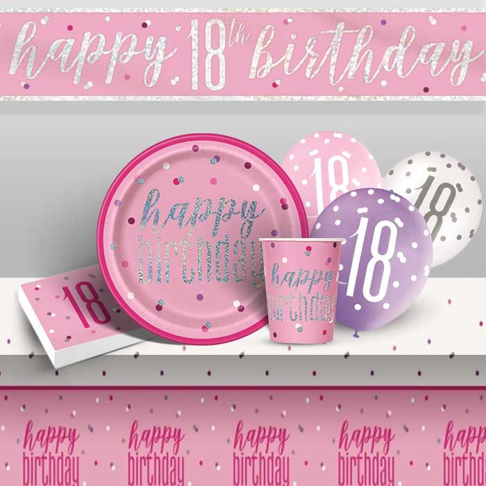 Pink and Silver Holographic 18th Birthday 8 to 48 Guest Premium Party Pack - Tableware | Balloons | Decoration