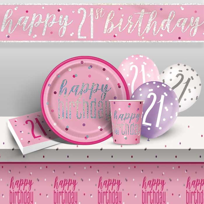 Pink and Silver Holographic 21st Birthday 8 to 48 Guest Premium Party Pack - Tableware | Balloons | Decoration