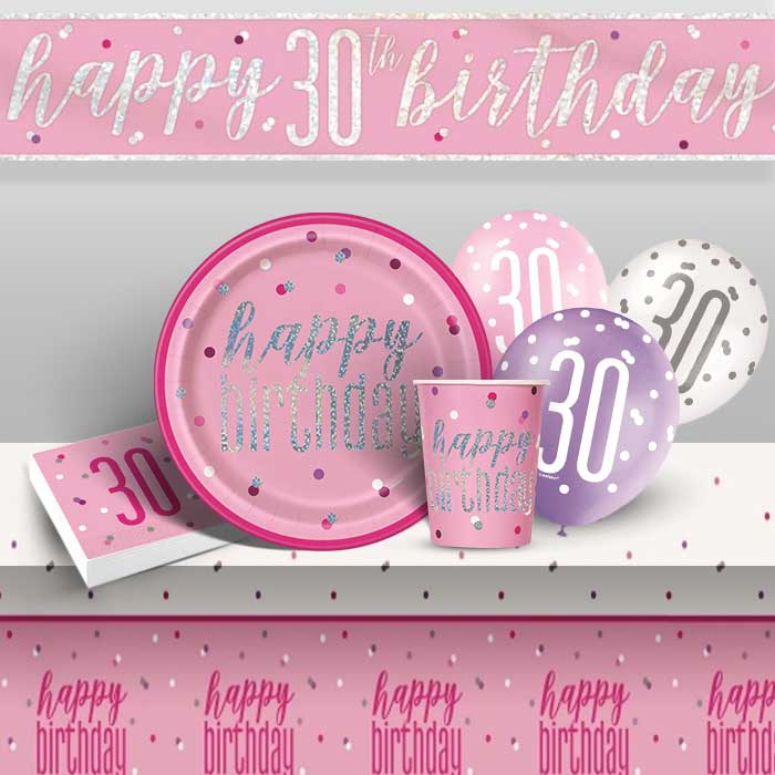 Pink and Silver Holographic 30th Birthday 8 to 48 Guest Premium Party Pack - Tableware | Balloons | Decoration