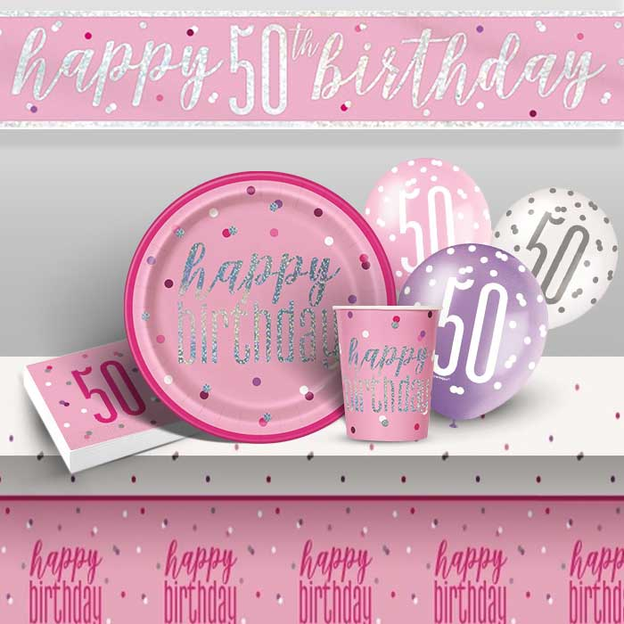 Pink and Silver Holographic 50th Birthday 8 to 48 Guest Premium Party Pack - Tableware | Balloons | Decoration