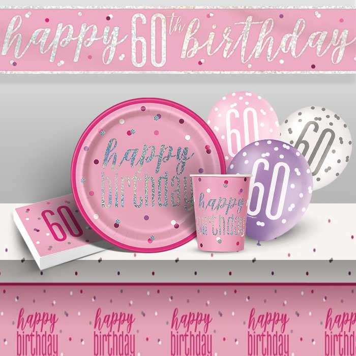Pink and Silver Holographic 60th Birthday 8 to 48 Guest Premium Party Pack - Tableware | Balloons | Decoration