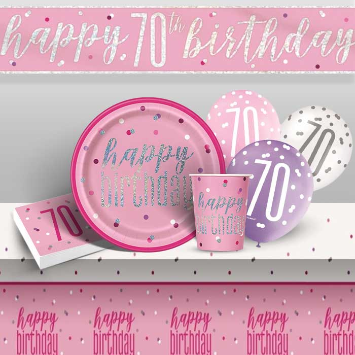 Pink and Silver Holographic 70th Birthday 8 to 48 Guest Premium Party Pack - Tableware | Balloons | Decoration