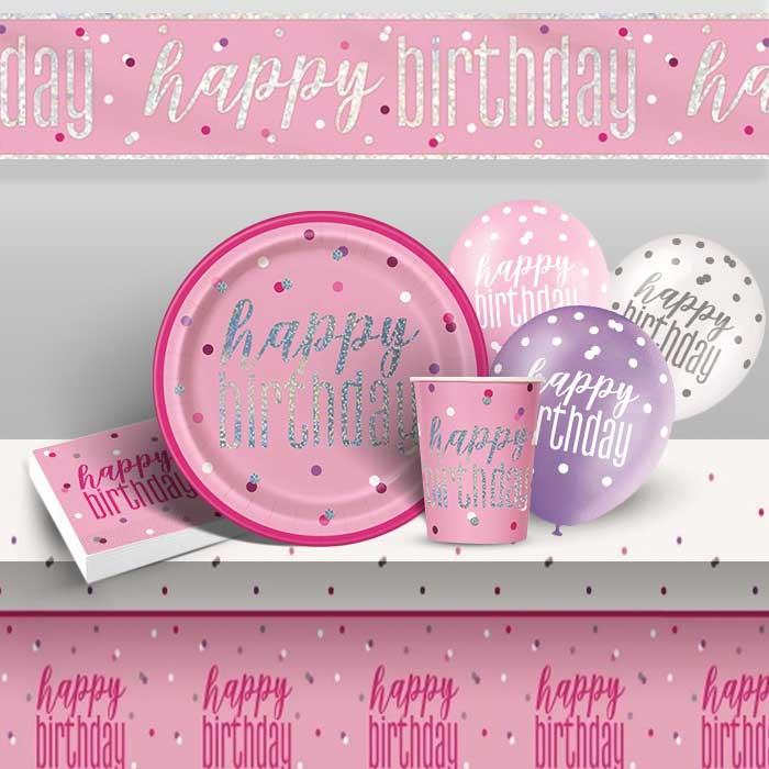 UNIQUE AGE 16 GLITZ PINK HAPPY BIRTHDAY PARTY TABLEWARE DECORATIONS HOLOGRAPHIC