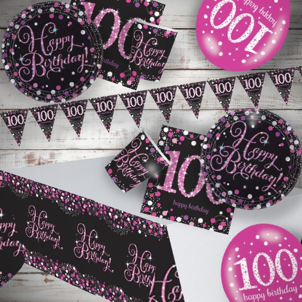 Pink Sparkling 100th Birthday 8 To 48 Guest Premium Party Pack