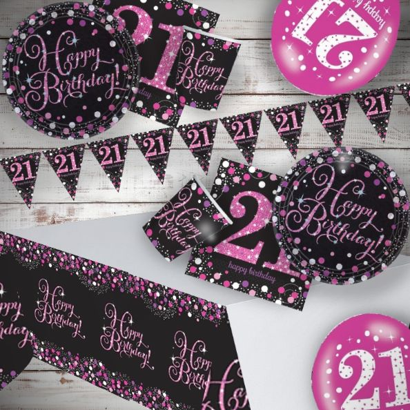 Pink Sparkling 21st Birthday 8 to 48 Guest Premium Party Pack - Tableware | Balloons | Decoration