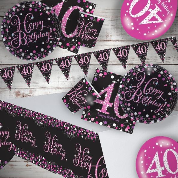 Pink Sparkling 40th Birthday 8 To 48 Guest Premium Party Pack