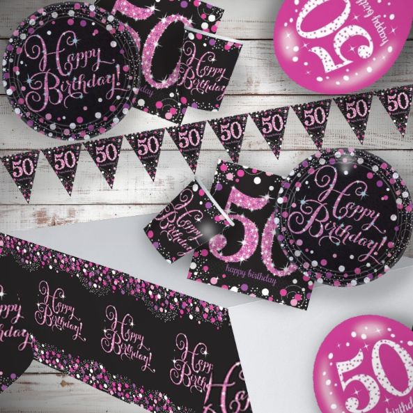 Pink Sparkling 50th Birthday 8 to 48 Guest Premium Party Pack - Tableware | Balloons | Decoration