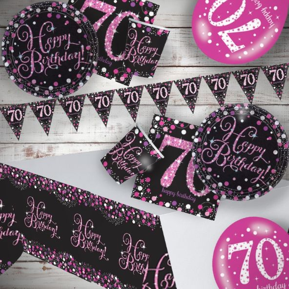 Pink Sparkling 70th Birthday 8 to 48 Guest Premium Party Pack - Tableware | Balloons | Decoration