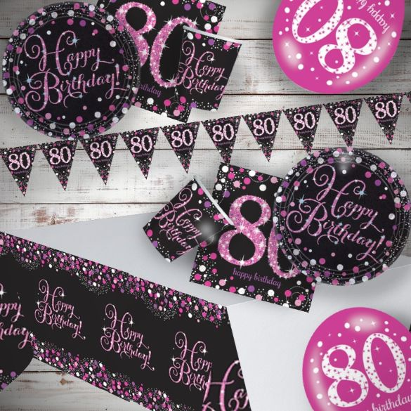 Pink Sparkling 80th Birthday 8 To 48 Guest Premium Party Pack