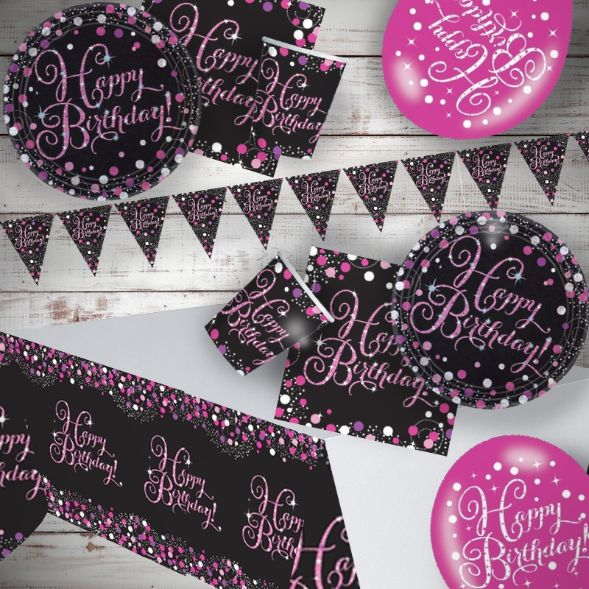 Pink Sparkling Birthday 8 to 48 Guest Premium Party Pack - Tableware | Balloons | Decoration