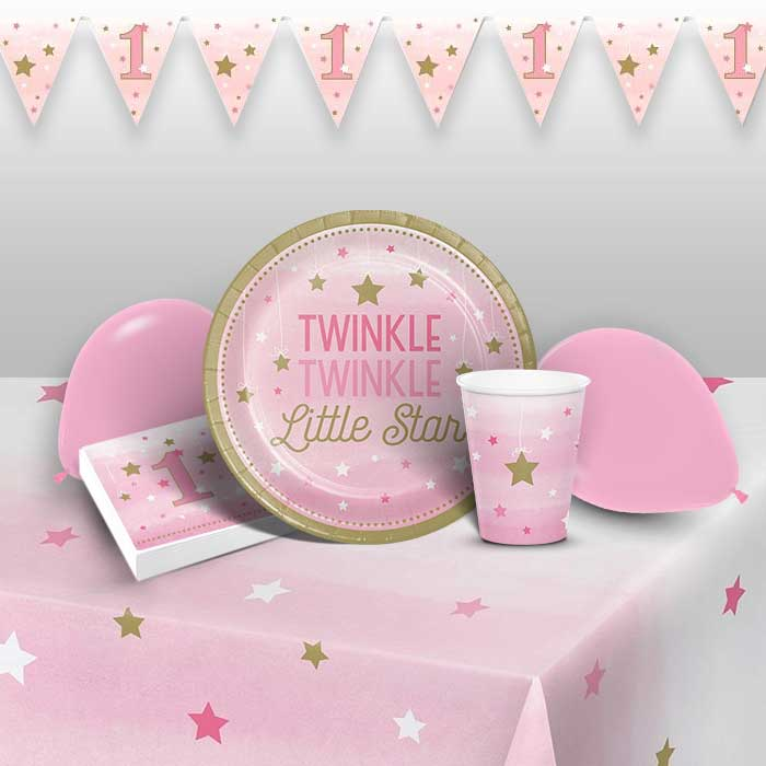 Pink Twinkle Star 1st Birthday 8 to 48 Guest Premium Party Pack - Tableware | Balloons | Decoration