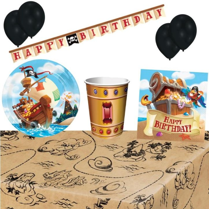 Pirate Treasure 8 to 48 Guest Premium Party Pack - Tableware | Balloons | Decoration