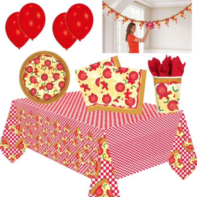 Pizza 8 to 48 Guest Premium Party Pack - Tableware, Balloons & Decorations