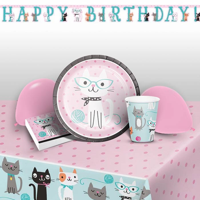 Purrfect Cat Party 8 to 48 Guest Premium Party Pack - Tableware | Balloons | Decoration