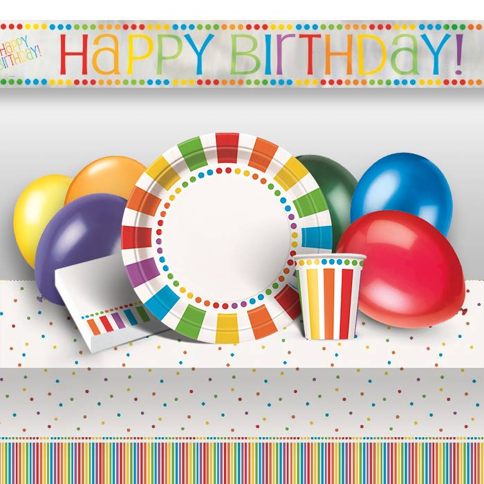 Rainbow Colourful Happy Birthday 8 to 48 Guest Premium Party Pack - Tableware | Balloons | Decoration