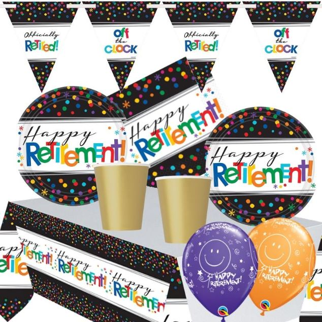 Happy Retirement Confetti Dots Premium Party Pack - Tableware | Balloons | Decoration