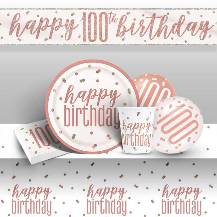 Rose Gold Holographic 100th Birthday 8 to 48 Guest Premium Party Pack - Tableware | Balloons | Decoration